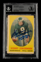 """Sonny Jurgensen Signed 1958 Topps #90 RC Inscribed """"HOF '88"""" (BGS Encapsulated) at PristineAuction.com"""
