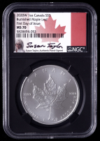 2020-W Canadian Silver Maple Leaf $5 1oz .999 Fine Silver Coin - Burnished, First Day of Issue, Black Core Holder - Susan Taylor Signed Label (NGC MS70) at PristineAuction.com