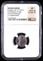 Crispina (A.D. 177-182/3) Roman Empire AR Denarius Ancient Silver Coin (NGC XF) Strike 3/5, Surface 3/5 at PristineAuction.com