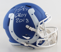 "Darius Leonard Signed Colts Full-Size AMP Alternate Speed Helmet Inscribed ""DROY 2018"" (Beckett COA) at PristineAuction.com"