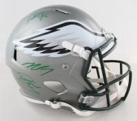 Eagles Full-Size Flash Alternate Speed Helmet Signed by (4) with Donavan McNabb, Randall Cunningham, Ron Jaworski & Michael Vick (JSA COA) at PristineAuction.com