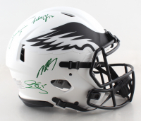 Eagles Full-Size Authentic On-Field Lunar Eclipse Alternate Speed Helmet Signed by (4) with Donavan McNabb, Randall Cunningham, Ron Jaworski & Michael Vick (JSA COA) at PristineAuction.com