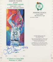 "Larry Bird Signed Boston Garden ""Larry Bird Night"" Uncut Ticket with LeRoy Neiman Art (PSA COA) at PristineAuction.com"