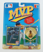 Deion Sanders 1990 MLB Collector Pin Series M.V.P. Premier Rookie Edition with Card at PristineAuction.com