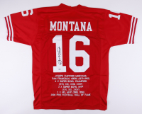 Joe Montana Signed Career Highlight Stat Jersey (Beckett COA) at PristineAuction.com