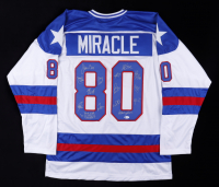 """1980 """"Miracle on Ice"""" Hockey Jersey Team-Signed by (15) with Mike Eruzione, Jim Craig, Craig Patrick, Dave Silk Inscribed """"Do You Believe In Miracles?"""" (Beckett COA) at PristineAuction.com"""