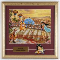 "Thomas Kinkade ""Aladdin"" 16x16 Custom Framed Print Display With Princess Jasmine Movie Pin at PristineAuction.com"