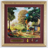 """Thomas Kinkade """"Winnie The Pooh"""" 16x16 Framed Poster Display With (3) Character Pins at PristineAuction.com"""