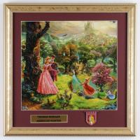 "Thomas Kinkade ""Sleeping Beauty"" 16x16 Custom Framed Print Display With Princess Aurora Movie Pin at PristineAuction.com"