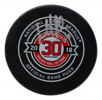 Martin Brodeur Signed 2018  Hockey Hall of Fame Logo Hockey Puck (Fanatics Hologram) at PristineAuction.com
