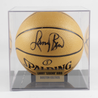 Larry Bird Signed Spalding Champions Basketball with Display Case (PSA COA) at PristineAuction.com