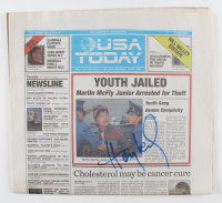"""Huey Lewis Signed """"Back to the Future Part II"""" USA Today Replica Prop Newspaper (AutographCOA Hologram) at PristineAuction.com"""
