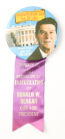 1981 Original Ronald Reagan Presidential Inauguration Day Pinback Button with Ribbon at PristineAuction.com
