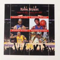 """Uncut Full Sheet of (8) Kobe Bryant Lakers """"Republique du Tchad"""" Postage Stamps at PristineAuction.com"""
