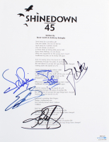 Shinedown 8.5x11 Lyric Sheet Band-Signed by (4) with Brent Smith, Zach Myers, Barry Kerch & Eric Bass (ACOA COA) at PristineAuction.com