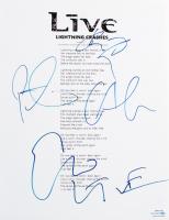 "Live 8.5x11 ""Lightning Crashes"" Lyric Sheet Band-Signed by (4) with Ed Kowalczyk, Chad Gracey, Chad Taylor, Patrick Dahlheimer (ACOA COA) at PristineAuction.com"