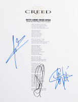 """Scott Stapp, Mark Tremonti & Scott Phillips Signed """"With Arms Wide Open"""" 8.5x11 Song Lyrics Sheet (ACOA COA) at PristineAuction.com"""