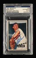 Bob Lemon Signed 1951 Bowman #53 (PSA Encapsulated) at PristineAuction.com