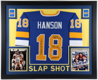 """Hanson Brothers """"Slap Shot"""" Chiefs 35x43 Custom Framed Jersey Signed by (3) with Dave Hanson, Steve Carlson & Jeff Carlson Inscribed """"Puttin' On The Foil"""" (Beckett Hologram) (See Description) at PristineAuction.com"""