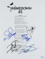 Shinedown 8.5x11 Lyric Sheet Band-Signed by (5) with Brent Smith, Zach Myers, Barry Kerch, Eric Bass & Brad Stewart (ACOA COA) at PristineAuction.com