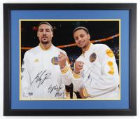 "Stephen Curry & Klay Thompson Signed Warriors 22x26.5 Custom Framed Photo Display Inscribed ""Splash Bros"" (Fanatics Hologram) at PristineAuction.com"