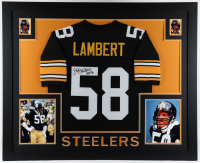 "Jack Lambert Signed 35x43 Custom Framed Jersey Display Inscribed ""HOF '90"" (JSA COA) at PristineAuction.com"