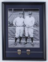 Babe Ruth & Lou Gehrig Framed Yankees 15x20 Photo with (2) Official Hall of Fame Brass Induction Plaques of Babe Ruth and Lou Gehrig at PristineAuction.com