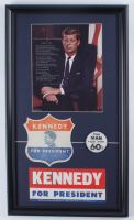 John F. Kennedy 14x24 Custom Framed 1960's Presidential Lithograph Display with 1960 Bumper Sticker 1960 Vari-Vue Blinker Pin and Vintage Encapsulated Kennedy Coin at PristineAuction.com
