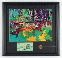 """Leroy Neiman """"Kentucky Derby"""" 17x18 Custom Framed Print Display With 1972 Kentucky Derby Ticket & Brass Coin at PristineAuction.com"""