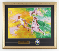 """LeRoy Neiman """"Pele"""" 18x21 Custom Framed Print Display with Brazilian Patch at PristineAuction.com"""