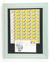 1969 Vintage MLB 13x16 Custom Framed Uncut Full Stamp Sheet Display with (50) Stamps & Original 100th Anniversary FDC Envelope at PristineAuction.com