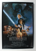 """Mark Hamill & Carrie Fisher Signed """"Star Wars: Return of the Jedi"""" 28x41 Custom Framed Movie Poster Display (JSA ALOA) at PristineAuction.com"""