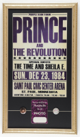 Prince & The Revolution Purple Rain Tour 15x26 Custom Framed Poster Display with Original Vintage Back Stage Pass & (2) Concert Pins at PristineAuction.com