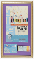 Vintage Disneyland 15x26 Custom Framed Poster Display with 1960's Ticket Book & 1950's Souvenir Photo Booklet at PristineAuction.com