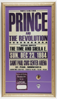 Prince & The Revolution Purple Rain Tour 15x26 Custom Framed Poster Display with Original Vintage Back Stage Pass, Concert Pin & Guitar Pick at PristineAuction.com