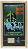 "Disneyland ""Haunted Mansion"" 15x26 Custom Framed Print Display with Vintage ""E"" Ticket Book & Ride Emblem at PristineAuction.com"