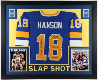 """Dave Hanson, Steve Carlson, & Jeff Carlson Signed 35x43 Custom Framed Jersey Display Inscribed """"Puttin' On The Foil"""" (Beckett Hologram) at PristineAuction.com"""