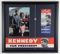 John F. Kennedy 19x21 Custom Framed Presidential Lithograph Display with Official Vintage 1960 Kennedy Campaign Pin, Brochure & Bumper Sticker at PristineAuction.com