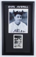 Earl Averill Signed Indians 13.5x22.5 Custom Framed Postcard Display (Beckett LOA) at PristineAuction.com