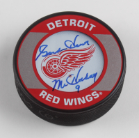 """Gordie Howe Signed Red Wings Logo Hockey Puck Inscribed """"Mr. Hockey"""" (JSA COA) at PristineAuction.com"""