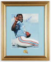 Earl Campbell Signed Oilers 13x16 Custom Framed Photo with Houston Oilers Pin (PSA COA & Mill Creek Hologram) at PristineAuction.com