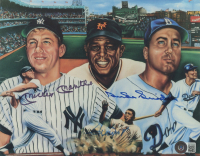 Mickey Mantle, Duke Snider & Willie Mays Signed 8x10 Lithograph (Beckett LOA) at PristineAuction.com