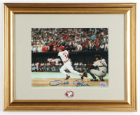 Pete Rose Signed Reds 13x16 Custom Framed Photo Display with Reds Pin (Rose Hologram) (See Description) at PristineAuction.com