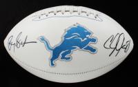 Barry Sanders & Calvin Johnson Signed Lions Logo Football (Beckett LOA) at PristineAuction.com
