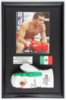 Julio Cesar Chavez Signed 17x27 Custom Framed Boxing Glove Display (PSA COA) at PristineAuction.com