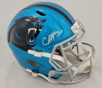 Chuba Hubbard Signed Panthers Full-Size Flash Alternate Speed Helmet (Beckett Hologram) at PristineAuction.com