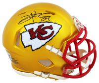 Travis Kelce Signed Chiefs Flash Alternate Speed Mini Helmet (Beckett COA) at PristineAuction.com