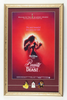 """Disney's """"Beauty and the Beast"""" 15x23 Custom Framed Print Display with Set of (3) Beauty and the Beast Pins at PristineAuction.com"""