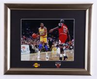 Magic Johnson & Michael Jordan 13x16 Custom Framed Photo Display with (2) Team Pins at PristineAuction.com