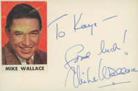 """Mike Wallace Signed 3x5 Cut Inscribed """"Good Luck!"""" (JSA Hologram) (See Description) at PristineAuction.com"""